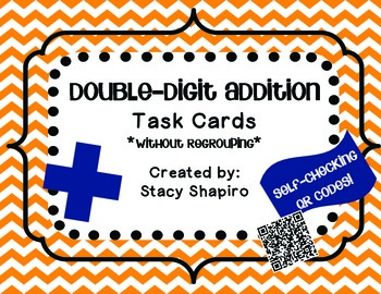 Double-Digit Addition Task Cards with QR Codes