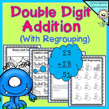 Double Digit Addition - With Regrouping (Two Digit Adding)