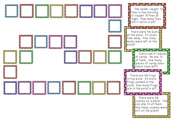 Double-Digit Addition and Subtraction Word Problem Board Game