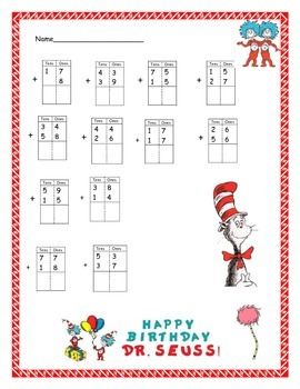 Double Digit Addition (regrouping) with Dr. Seuss