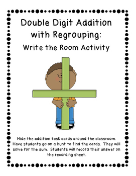 Double Digit Addition with Regrouping: Write the Room Acti
