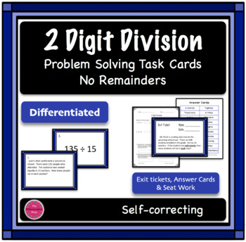 2 Digit Division Differentiated Word Problem Task Cards, N