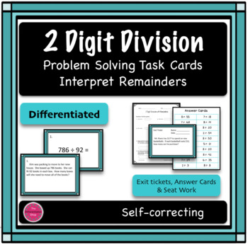 2 Digit Division Differentiated Word Problem Task Cards, I