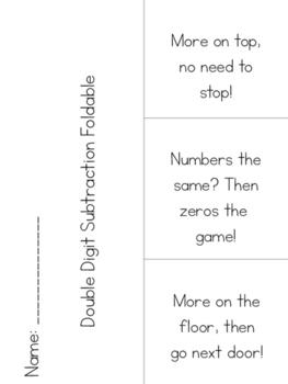 Double Digit Subtraction Poem Foldable