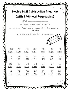 Double Digit Subtraction Practice (With and Without Regrouping)