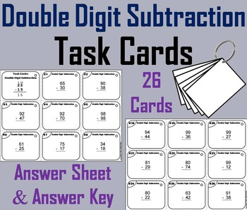 2 Digit Subtraction Task Cards/ Two Digit Subtraction Task
