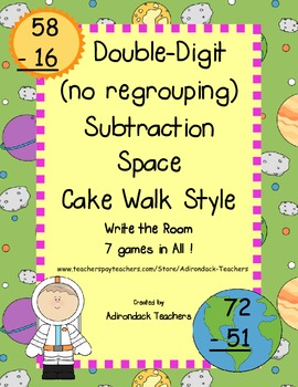Double Digit Subtraction (no Regrouping) Space Cake Walk S