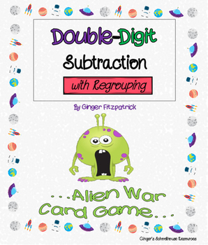 Double Digit Subtraction with Regrouping Alien War Card Game