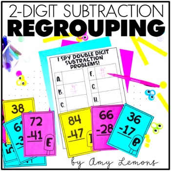 image relating to Subtraction With Regrouping Games Printable known as Double Digit Subtraction with Regrouping