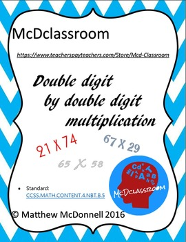 Double Digit by Double Digit Multiplication PACKET