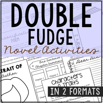 Double Fudge by Judy Blume Novel Unit Study Activities, Bo