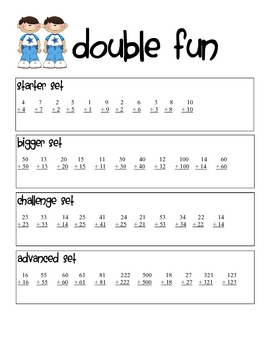 Double Fun Addition Worksheet