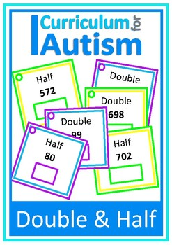 Double & Half Mental Arithmetic Math Task Cards, Autism, S