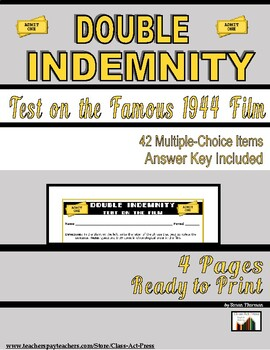 Double Indemnity: The Test for the Film (4 pg., Answer Key