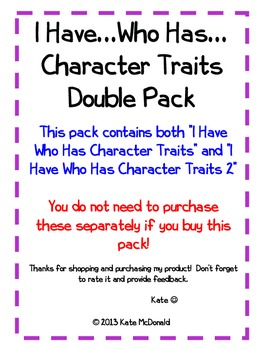 *I Have Who Has (Double Pack)* - Character Traits and Definitions