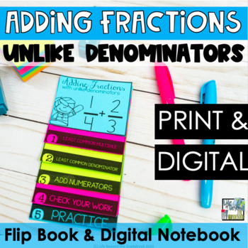 Double-Sided Mini Flip Book - Adding Fractions with Unlike
