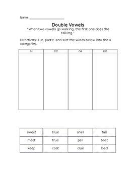 Double Vowels Word Sort