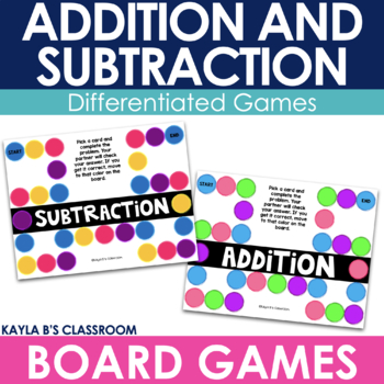 BUNDLE: Addition and Subtraction Board Games - Double and
