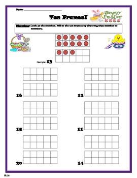 Double ten frame practice- Easter themed