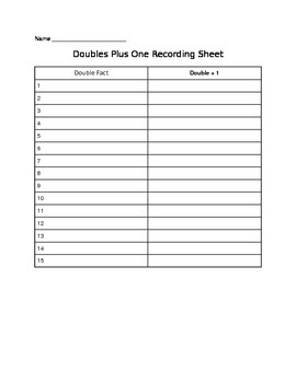 Doubles +1 Recording Sheet