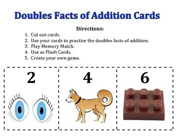 Doubles Facts of Addition Cards