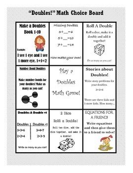 Doubles Math Choice Board