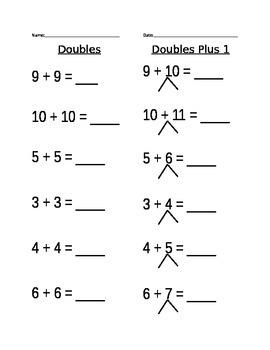 Doubles Plus 1 Worksheet (2)
