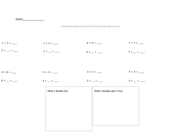 Doubles and Doubles Plus 1 Worksheet