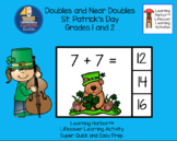 Doubles and Near Doubles  St. Patrick's Day  Task Cards  G