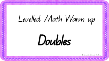 Doubles fact Mental Math Warm Up ACARA C2C Common Core