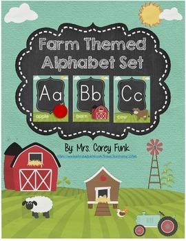 Down on the Farm Alphabet Card Set Farm Theme Alphabet Far
