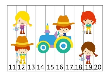 Down on the Farm themed 11-20 Number Puzzle preschool lear