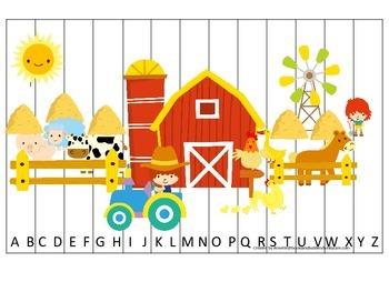 Down on the Farm themed Alphabet Puzzle preschool learning