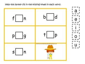 Down on the Farm themed CVC #1 preschool learning activity