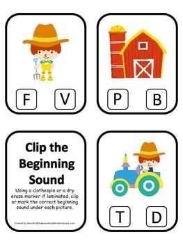 Down on the Farm themed Sound Clip it Cards preschool lear