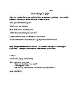 Dr. Heidegger's Experiment, Create an Ad