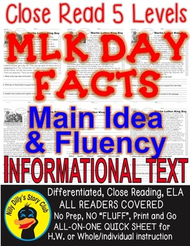 Martin Luther King DAY FACTS Close Read 5 levels ALL READE
