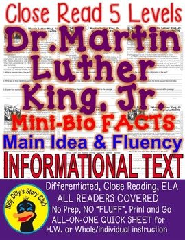 Dr. Martin Luther King Jr. FACTS mini-bio Close Read 5 lev