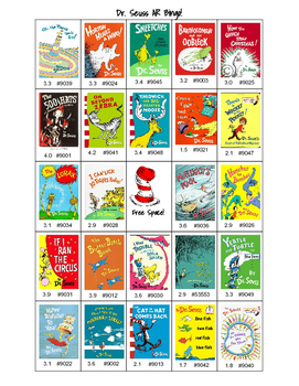 Dr. Seuss AR reading Bingo