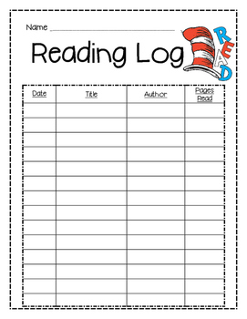 Dr. Seuss Cat in the Hat Reading Log
