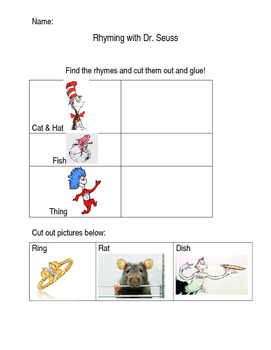 Dr. Seuss Cut and Paste Rhyming Words