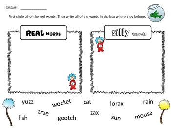 Dr. Seuss Day: Real Words vs Silly Words