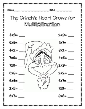 Dr. Seuss Grinch Multiplication