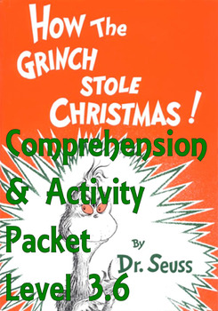 Dr Seuss How the Grinch Stole Christmas Comprehension Acti