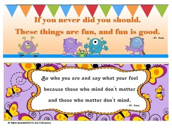 Dr. Seuss Inspirational Quotes Mini-Poster Sampler Set