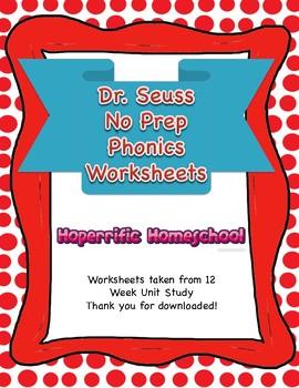 Dr. Seuss No Prep Phonics Worksheets