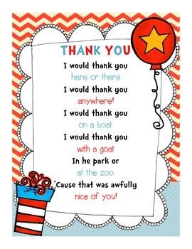 Dr. Seuss Read Across America Thank You Note {FREEBIE!}