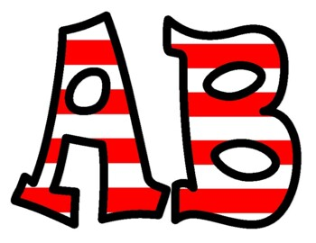 Dr. Seuss Style Red and White Striped Bulletin Board Letters