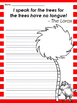 Dr. Seuss The Lorax Earth Day themed Writing Prompts and L