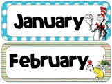 Dr. Seuss Theme Calendar Headers | Months and Days of the Week